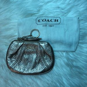 Coach Rose Gold Leather Keychain Coin Purse